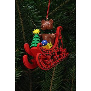 Christbaumschmuck Weihnachten Christbaumschmuck Teddy im Schlitten - 7,5x7,1cm