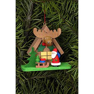 Christbaumschmuck Weihnachtsmann Christbaumschmuck Waldhaus mit Weihnachtsmann - 7,1x6,2 cm