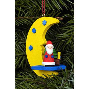 Christbaumschmuck Weihnachtsmann Christbaumschmuck Weihnachtsmann am Mond - 4,5 x 6,3 cm
