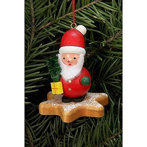 Christbaumschmuck Weihnachtsmann Christbaumschmuck - Weihnachtsmann auf Lebkuchenstern - 5,2 x 5,9cm