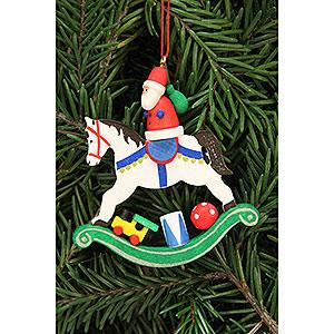 Christbaumschmuck Weihnachtsmann Christbaumschmuck Weihnachtsmann auf Schaukelpferd - 6,8x7,1cm