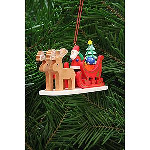 Christbaumschmuck Strolche & Andere Christbaumschmuck Weihnachtsmann im Rentierschlitten - 9,7 cm