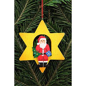 Christbaumschmuck Weihnachtsmann Christbaumschmuck Weihnachtsmann im Stern - 9,5x9,5cm