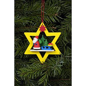 Christbaumschmuck Weihnachtsmann Christbaumschmuck Weihnachtsmann im gelben Stern - 6,8x7,8 cm