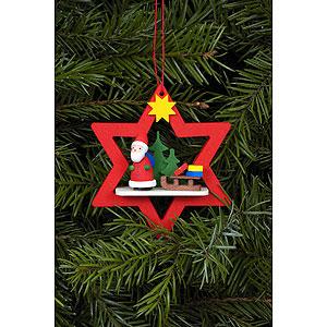 Christbaumschmuck Weihnachtsmann Christbaumschmuck Weihnachtsmann im roten Stern - 6,8 / 7,8 cm