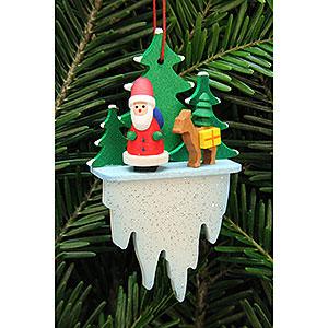 Christbaumschmuck Weihnachtsmann Christbaumschmuck Weihnachtsmann mit Bambi auf Eiszapfen - 5,5x8,8 cm