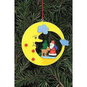 Christbaumschmuck Weihnachtsmann Christbaumschmuck Weihnachtsmann mit Bambi im Mond - 8,3x7,9cm