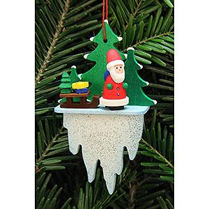 Christbaumschmuck Weihnachtsmann Christbaumschmuck Weihnachtsmann mit Schlitten auf Eiszapfen - 5,5x8,8 cm