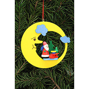 Christbaumschmuck Weihnachtsmann Christbaumschmuck Weihnachtsmann mit Schlitten im Mond - 8,3x7,9 cm