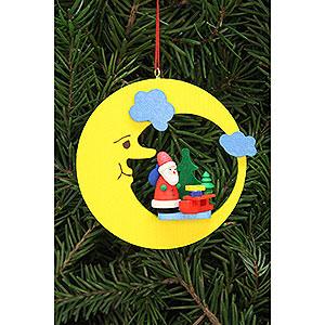 Christbaumschmuck Weihnachtsmann Christbaumschmuck Weihnachtsmann mit Schlitten im Mond - 8,3x7,9cm