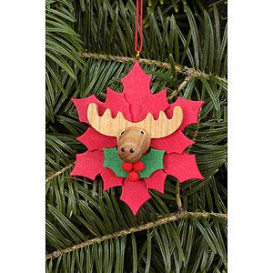 Christbaumschmuck Weihnachten Christbaumschmuck Weihnachtsstern mit Elch - 6,5 x 6,5cm