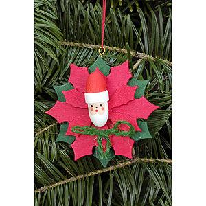 Christbaumschmuck Weihnachten Christbaumschmuck Weihnachtsstern mit Weihnachtsmann - 6,5x6,5 cm