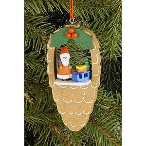 Christbaumschmuck Weihnachten Christbaumschmuck Zapfen mit Weihnachtsmann - 4,4 x 8,8cm