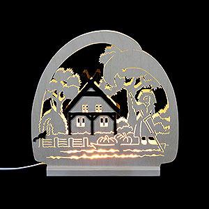 Schwibbögen Laubsägearbeiten Dekoleuchter Spreewald -LED - 30 x 28,5 x 4,5 cm