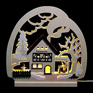 Schwibbögen Laubsägearbeiten Dekoleuchter Waldhaus - LED - 30 x 28,5 x 4,5 cm