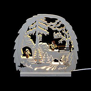 Schwibbögen Laubsägearbeiten Dekoleuchter Waldmotiv - LED - 30 x 28,5 x 4,5 cm