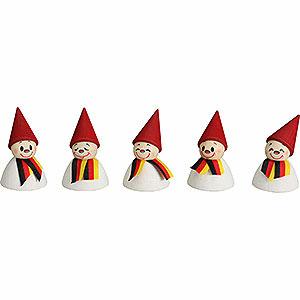 Kleine Figuren & Miniaturen alles Andere Deutsche Fan-Wippel mit Schal, 5er Satz - 4cm