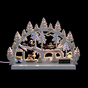 Schwibbögen Laubsägearbeiten Doppel Schwibbogen Waldleute Holzstapel mit 3 Figuren - 42x30x4,5 cm