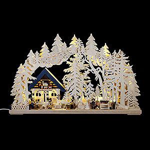 Schwibbögen Laubsägearbeiten Doppelschwibbogen Kunsthandwerkerhaus - 70x42cm