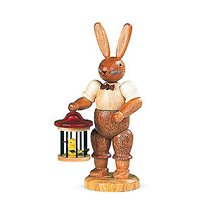 Small Figures & Ornaments Animals Rabbits Easter Bunny with Bird Cage - 11 cm / 4 inch