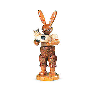Small Figures & Ornaments Animals Rabbits Easter Bunny with Cat - 11 cm / 4 inch