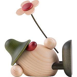 Kleine Figuren & Miniaturen Björn Köhler Eierköpfe klein Eierkopf Oskar mit Blume liegend, grün - 11 cm