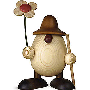 Kleine Figuren & Miniaturen Björn Köhler Eierköpfe klein Eierkopf Rudi mit Blume und Stock, braun - 11cm
