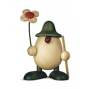 Kleine Figuren & Miniaturen Björn Köhler Eierköpfe klein Eierkopf Rudi mit Blume und Stock, grün - 11cm