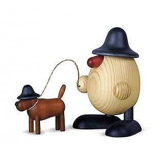 Kleine Figuren & Miniaturen Bj�rn K�hler Eierk�pfe klein Eierkopf Rudi mit Waldi, blau - 11cm