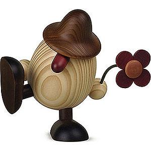 Kleine Figuren & Miniaturen Björn Köhler Eierköpfe groß Eierkopf Vater Anton  mit Blume sitzend/tanzend, braun - 15cm