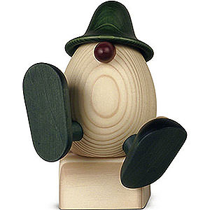 Kleine Figuren & Miniaturen Björn Köhler Eierköpfe groß Eierkopf Vater Anton mit Blume sitzend/tanzend, grün - 15 cm