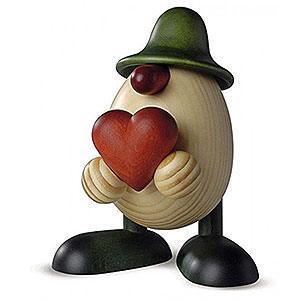 Kleine Figuren & Miniaturen Bj�rn K�hler Eierk�pfe gro� Eierkopf Vater Hanno mit Herz, gr�n - 15cm