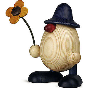 Kleine Figuren & Miniaturen Björn Köhler Eierköpfe groß Eierkopf Vater Rudi mit Blume stehend, blau - 15 cm