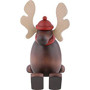 Kleine Figuren & Miniaturen Björn Köhler Weihnachtsfrauen kl. Elch Olaf auf Kante sitzend - 15 cm