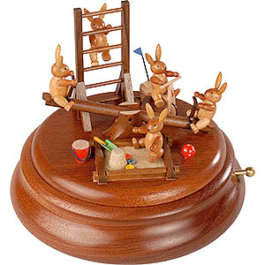 Spieldosen Alle Spieldosen Elektronische Spieldose - Hasenspielplatz mit beweglicher Wippe - 16cm