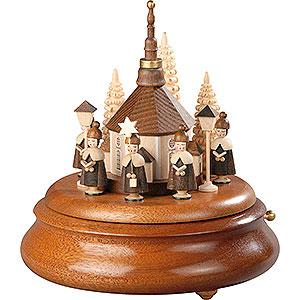 Spieldosen Alle Spieldosen Elektronische Spieldose - Kurrende mit Seiffener Kirche natur - 19cm