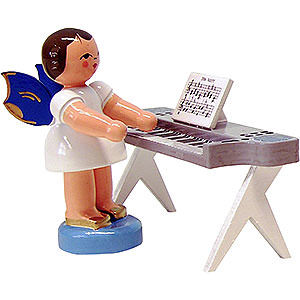 Weihnachtsengel Engel - blaue Flügel - klein Engel am Keyboard - Blaue Flügel - stehend - 6 cm