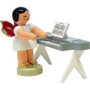 Weihnachtsengel Engel - rote Flügel - klein Engel am Keyboard - Rote Flügel - stehend - 6cm