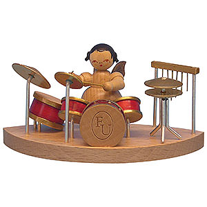 Weihnachtsengel Engel - natur - klein Engel am Schlagzeug passend zu Wolkenstecksystem - natur - stehend - 6cm