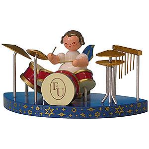 Weihnachtsengel Engel - blaue Flügel - klein Engel am Schlagzeug passend zu einfachen Wolken - Blaue Flügel - stehend - 6cm