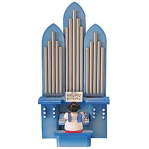 Weihnachtsengel Engel - blaue Fl�gel - klein Engel an der Orgel mit Spielwerk
