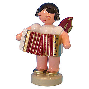 Weihnachtsengel Engel - rote Flügel - klein Engel mit Akkordeon - Rote Flügel - stehend - 6cm