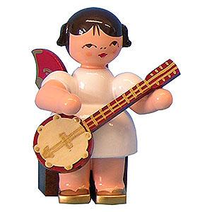 Weihnachtsengel Engel - rote Fl�gel - klein Engel mit Banjo - Rote Fl�gel - sitzend - 5cm