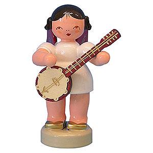 Weihnachtsengel Engel - rote Flügel - klein Engel mit Banjo - Rote Flügel - stehend - 6 cm