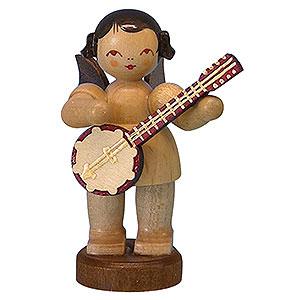 Weihnachtsengel Engel - natur - klein Engel mit Banjo - natur - stehend - 6 cm