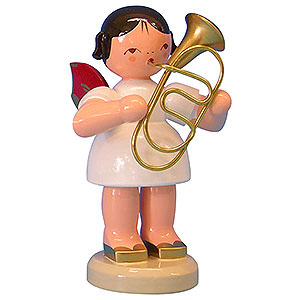 Weihnachtsengel Engel - rote Flügel - groß Engel mit Bariton - Rote Flügel - stehend - 9,5cm