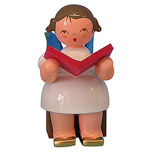 Weihnachtsengel Engel - blaue Fl�gel - klein Engel mit Buch - Blaue Fl�gel - sitzend - 5cm