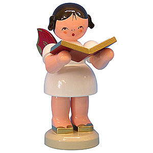 Weihnachtsengel Engel - rote Fl�gel - gro� Engel mit Buch - Rote Fl�gel - stehend - 9,5cm