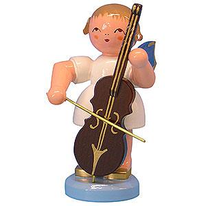 Weihnachtsengel Engel - blaue Flügel - groß Engel mit Cello - Blaue Flügel - stehend - 9,5cm