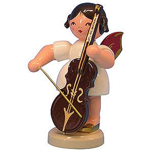 Weihnachtsengel Engel - rote Flügel - groß Engel mit Cello - Rote Flügel - stehend - 9,5 cm